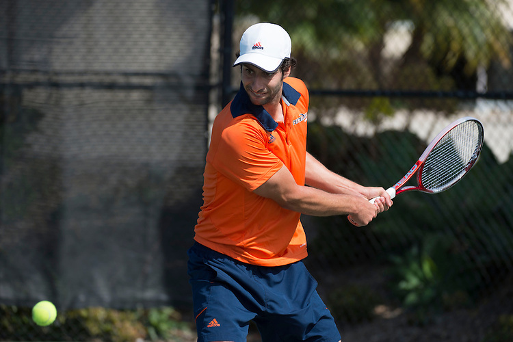 April 27, 2013; San Diego, CA, USA; Pepperdine Waves player Alex Sarkissian during the WCC Tennis Championships at Barnes Tennis Center.