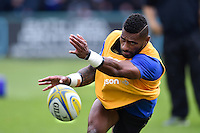 Niko Matawalu of Bath Rugby passes the ball during the pre-match warm-up. Aviva Premiership match, between Bath Rugby and Exeter Chiefs on October 17, 2015 at the Recreation Ground in Bath, England. Photo by: Patrick Khachfe / Onside Images