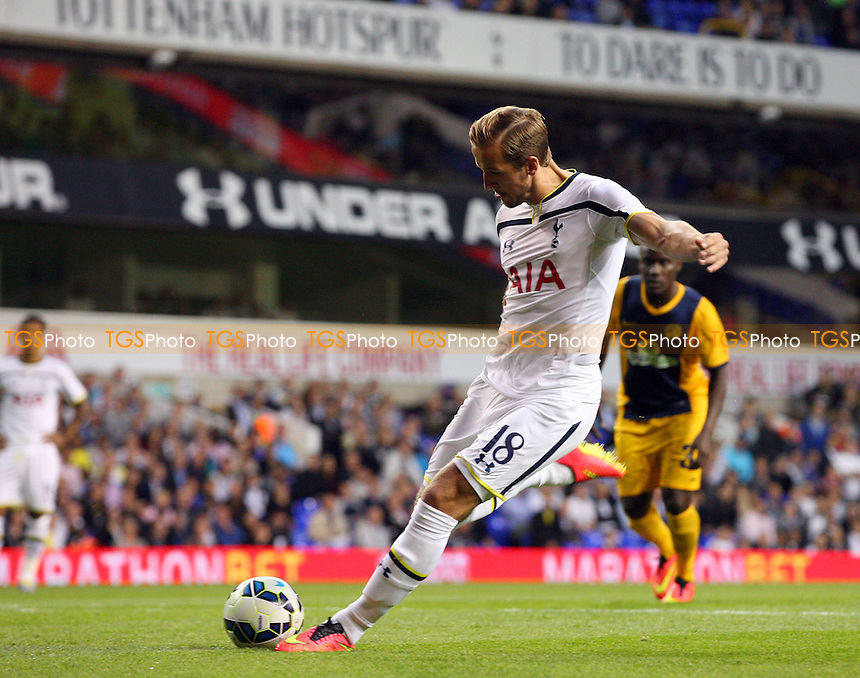 Harry Kane of Tottenham Hotspur takes a penalty which is saved by Pulpo Romero of AEL Limassol - Tottenham vs AEL Limassol - UEFA Europa League Play Off Round second leg football at the White Hart Lane Stadium on 28/08/2014 - MANDATORY CREDIT: Dave Simpson/TGSPHOTO - Self billing applies where appropriate - 0845 094 6026 - contact@tgsphoto.co.uk - NO UNPAID USE