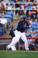 Binghamton Mets first baseman Vince Belnome (9) at bat during a game against the Trenton Thunder on August 8, 2015 at NYSEG Stadium in Binghamton, New York.  Trenton defeated Binghamton 4-2.  (Mike Janes/Four Seam Images)