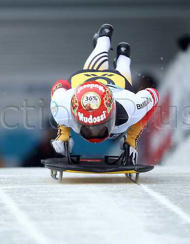 06.03.2015. Winterberg, Germany.  Skeleton racer Tina Hermann of Germany in action during the women's skeleton competition at the Bob & Skeleton World Championships 2015 in Winterberg, Germany, 6th March.