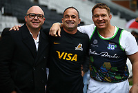DURBAN, SOUTH AFRICA - JULY 14: Eduard Coetzee of the Management of the Cell C Sharks with Nicholas Fernandez Miranda of the Jaguares and John Smit during the Super Rugby match between Cell C Sharks and Jaguares at Jonsson Kings Park on July 14, 2018 in Durban, South Africa.Photo: Steve Haag / stevehaagsports.com