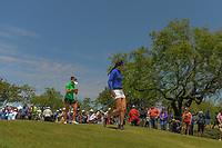 Michelle Wie (USA) and Gerina Piller (USA) depart the 10th tee box during round 1 of  the Volunteers of America Texas Shootout Presented by JTBC, at the Las Colinas Country Club in Irving, Texas, USA. 4/27/2017.<br /> Picture: Golffile | Ken Murray<br /> <br /> <br /> All photo usage must carry mandatory copyright credit (&copy; Golffile | Ken Murray)