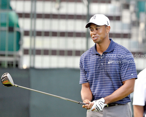 Bethesda, MD - July 1, 2009 -- Tiger Woods prepares to hit a tee shot during the Earl Woods Memorial Pro-Am prior  to the AT&T National Hosted by Tiger Woods at Congressional Country Club in Bethesda, Maryland on Wednesday, July 1, 2009..Credit: Ron Sachs / CNP