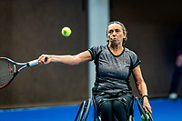 Alphen aan den Rijn, Netherlands, December 18, 2019, TV Nieuwe Sloot,  NK Tennis, Wheelchair womans doubles: Maaike Derks-Snellenberg (NED)	 <br /> Photo: www.tennisimages.com/Henk Koster