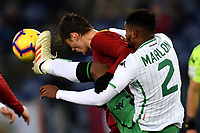 Patrik Schick of AS Roma and Marlon of Sassuolo compete for the ball  during the Serie A 2018/2019 football match between AS Roma and Sassuolo at stadio Olimpico, Roma, December, 26, 2018 <br />  Foto Andrea Staccioli / Insidefoto
