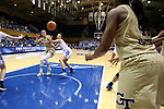 DURHAM, NC - FEBRUARY 01: Georgia Tech's Francesca Pan (ITA) (33) takes a throw-in from Kierra Fletcher (41) while being guarded by Duke's Faith Suggs (center). The Duke University Blue Devils hosted the Georgia Tech University Yellow Jackets on February 1, 2018 at Cameron Indoor Stadium in Durham, NC in a Division I women's college basketball game. Duke won the game 77-59.