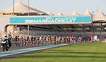 The peloton in action during Stage 4, The Yas Stage, of the 2015 Abu Dhabi Tour running 110 km 20 laps around the Yas Marina Circuit, Abu Dhabi. 11th October 2015.<br /> Picture: ANSA/Claudio Peri | Newsfile