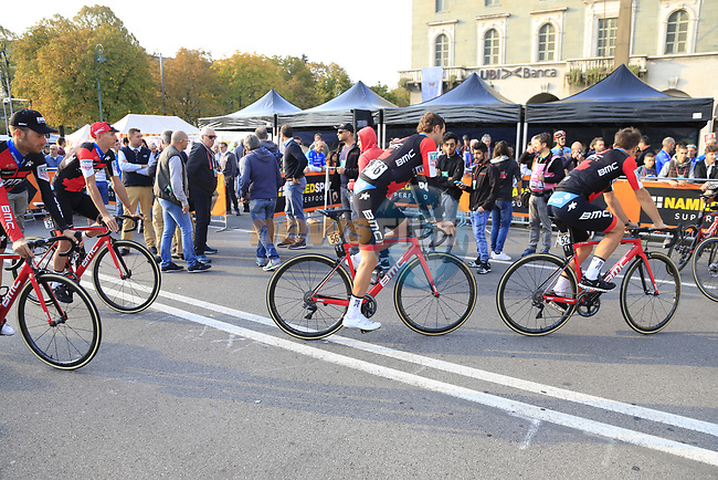 BMC Racing Team arrive at sign on before the start of the 112th edition of Il Lombardia 2018, the final monument of the season running 241km from Bergamo to Como, Lombardy, Italy. 13th October 2018.<br /> Picture: Eoin Clarke | Cyclefile<br /> <br /> <br /> All photos usage must carry mandatory copyright credit (© Cyclefile | Eoin Clarke)