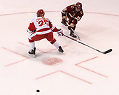 Alexis Crossley (BU - 25), Ryan Little (BC - 20) - The Boston College Eagles defeated the Boston University Terriers 3-2 in the first round of the Beanpot on Monday, January 31, 2017, at Matthews Arena in Boston, Massachusetts.