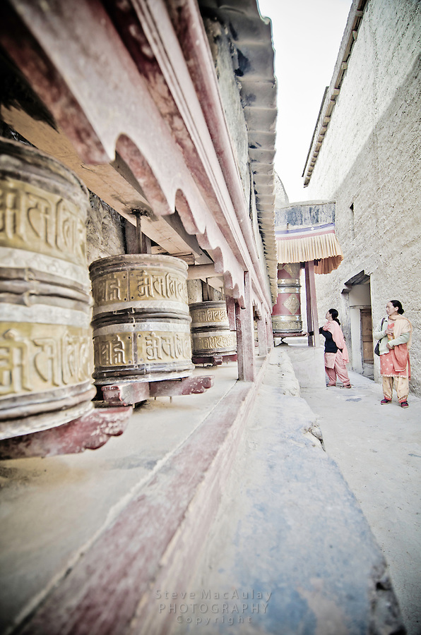 Prayer wheels, Shey Palace, Naropa Royal Palace, in Ladakh, India.