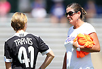 26 August 2012: Florida head coach Becky Burleigh (right) talks to Taylor Travis (41). The University of Florida Gators defeated the Duke University Blue Devils 3-2 in overtime at Fetzer Field in Chapel Hill, North Carolina in a 2012 NCAA Division I Women's Soccer game.