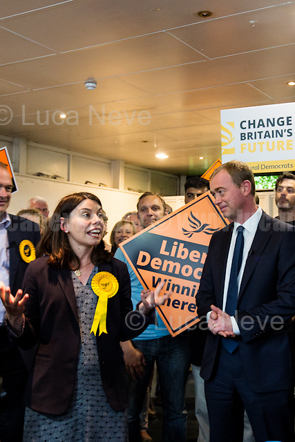 Sarah Olney (Former Liberal Democrats Member of Parliament for Richmond Park, she will contest the same seat in the 2017 general election) &amp; Tim Farron (Leader of the Liberal Democrats).<br />