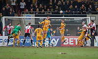 Cheltenham attack late on in search of an equaliser during the Sky Bet League 2 match between Cheltenham Town and Cambridge United at the LCI Stadium, Cheltenham, England on 18 March 2017. Photo by Mark  Hawkins / PRiME Media Images.