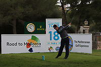 Rhys Enoch (WAL) on the 18th tee during Round 4 of the Challenge Tour Grand Final 2019 at Club de Golf Alcanada, Port d'Alcúdia, Mallorca, Spain on Sunday 10th November 2019.<br /> Picture:  Thos Caffrey / Golffile<br /> <br /> All photo usage must carry mandatory copyright credit (© Golffile | Thos Caffrey)
