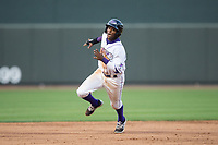 Luis Alexander Basabe (16) of the Winston-Salem Dash hustles towards third base against the Myrtle Beach Pelicans at BB&T Ballpark on May 11, 2017 in Winston-Salem, North Carolina.  The Pelicans defeated the Dash 9-7.  (Brian Westerholt/Four Seam Images)
