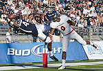 September 15, 2012: Nevada Wolf Pack receiver #4 Brandon Wimberly make the catch over Northwestern State Demons Cortez Paige during their NCAA football game played at Mackay Stadium on Saturday afternoon in Reno, Nevada.