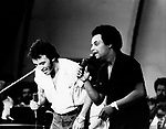 Bruce Springsteen 1981 with Gary US Bonds at Survival Sunday at the Hollywood Bowl.© Chris Walter.