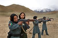 Policewomen practicing their guns on the shooting range.