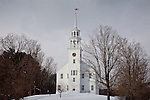 Fresh snow at the Strafford town hall in Strafford, VT