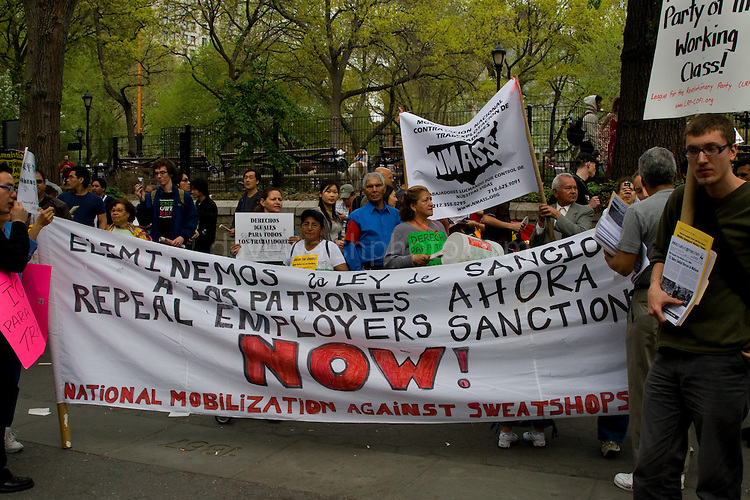 Immigration Demonstration in Union Square, New York, United States, during International Worker's Day