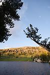 Morning alpenglow above Showers Lake, Sierra Nevada, Eldorado National Forest, California