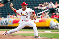 Matthew Frevert (26) of the Springfield Cardinals delivers a pitch during a game against the Midland RockHounds on April 19, 2011 at Hammons Field in Springfield, Missouri.  Photo By David Welker/Four Seam Images