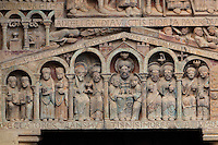 The elected in Paradise, in the Celestial Jerusalem, with Abraham in the centre holding the Holy Innocents, the Wise Virgins with their lamps, the martyrs with their palm leaves, the prophets with their parchment scrolls and the apostles with their books, early 12th century Romanesque, carved by the Master of the Tympanum, from the tympanum of the Last Judgement above the portal on the West facade of the Abbatiale Sainte-Foy de Conques or Abbey-church of Saint-Foy, Conques, Aveyron, Midi-Pyrenees, France, a Romanesque abbey church begun 1050 under abbot Odolric to house the remains of St Foy, a 4th century female martyr. The church is on the pilgrimage route to Santiago da Compostela, and is listed as a historic monument and a UNESCO World Heritage Site. Picture by Manuel Cohen