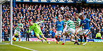 11.3.2018 Rangers v Celtic:<br /> Scott Bain reacts as the ball hits off the post from Alfredo Morelos