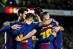 Players of FC Barcelona celebrates the first goal of their team scored by Lionel Andres Messi during the Copa Del Rey 2017-18 Round of 16 (2nd leg) match between FC Barcelona and RC Celta de Vigo at Camp Nou on 11 January 2018 in Barcelona, Spain. Photo by Vicens Gimenez / Power Sport Images