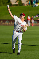 Wisconsin Timber Rattlers pitcher Corbin Burnes (19) warms up prior to a Midwest League game against the Peoria Chiefs on July 9, 2016 at Fox Cities Stadium in Appleton, Wisconsin. Peoria defeated Wisconsin 3-2. (Brad Krause/Four Seam Images)