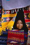 Guatemalan woman rug vendor, Tikal, Guatemala, Central America