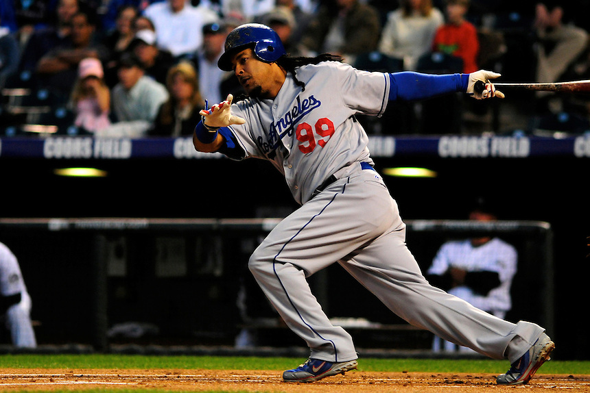 12 September 2008: Los Angeles Dodgers outfielder Manny Ramirez at bat agains tthe Colorado Rockies. The Dodgers defeated the Rockies 7-2 at Coors Field in Denver, Colorado. FOR EDITORIAL USE ONLY