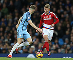 Viktor Fischer of Middlesbrough takes on John Stones of Manchester City during the Premier League match at the Etihad Stadium, Manchester. Picture date: November 5th, 2016. Pic Simon Bellis/Sportimage