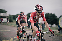 Tim Wellens (BEL/Lotto-Soudal) & Thomas de Gendt (BEL/Lotto-Soudal) up the first HC climb of the day; the Col de la Biche (10.5km @9%)<br /> <br /> 104th Tour de France 2017<br /> Stage 9 - Nantua › Chambéry (181km)