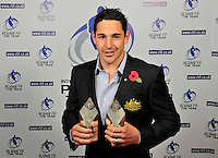 PICTURE BY SIMON WILKINSON/SWPIX.COM...Rugby League - Gillette 4 Nations 2011 - Rugby League International Federation International Player of the Year Awards 2011 - Tower of London, London, England - 02/11/11…Australia's Billy Slater wins Player of the Year and Fullback of the Year.