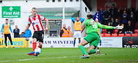 Lincoln City's Terry Hawkridge scores his sides equalising goal to make the score 1-1<br /> <br /> Photographer Chris Vaughan/CameraSport<br /> <br /> Vanarama National League - Lincoln City v Macclesfield Town - Saturday 22nd April 2017 - Sincil Bank - Lincoln<br /> <br /> World Copyright &copy; 2017 CameraSport. All rights reserved. 43 Linden Ave. Countesthorpe. Leicester. England. LE8 5PG - Tel: +44 (0) 116 277 4147 - admin@camerasport.com - www.camerasport.com