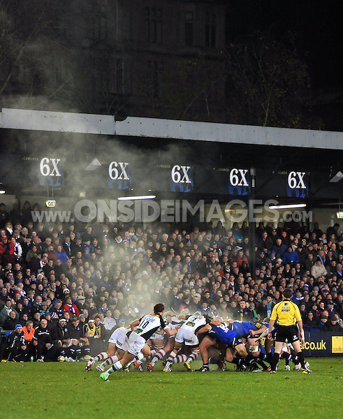 Steam rises from a scrum. Aviva Premiership match, between Bath Rugby and Harlequins on November 23, 2012 at the Recreation Ground in Bath, England. Photo by: Patrick Khachfe / Onside Images