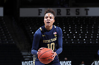 WINSTON-SALEM, NC - FEBRUARY 06: Katlyn Gilbert #10 of the University of Notre Dame shoots a free throw during a game between Notre Dame and Wake Forest at Lawrence Joel Veterans Memorial Coliseum on February 06, 2020 in Winston-Salem, North Carolina.