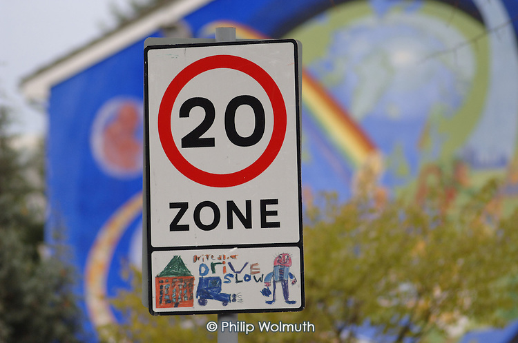 20 mph speed limit signs in Lewisham, London.