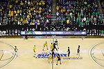 SIOUX FALLS, SD - MARCH 10: North Dakota State Bison tip off with the North Dakota Fighting Hawks during the men's championship game at the 2020 Summit League Basketball Tournament in Sioux Falls, SD. (Photo by Richard Carlson/Inertia)