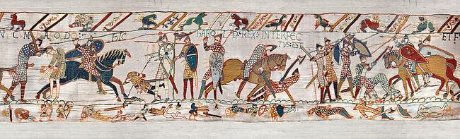 11th Century Medieval Bayeux Tapestry - Scene 57 - Harold dies after being shot in the eye with an arrow.