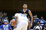 04 November 2016: Augustana's Jordan Spencer (ENG) (behind) and Duke's Matt Jones (13). The Duke University Blue Devils hosted the Augustana University Vikings at Cameron Indoor Stadium in Durham, North Carolina in a 2016-17 NCAA Division I Men's Basketball exhibition game.