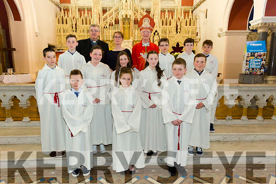 Pupils from Glanaguillagh  NS Killorglin who were confirmed by Bishop Ray Browne  in St James Church, Killorglin on Tuesday with teacher linda galvin Fr Michael Fleming