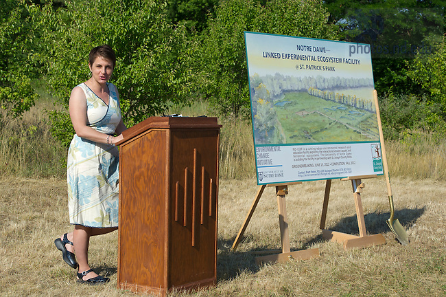 June 15, 2012; Professor Jennifer Tank speaks during the groundbreaking event for the Notre Dame Linked Experimental Ecosystem Facility at St. Patrick's County Park. Photo by Barbara Johnston/University of Notre Dame