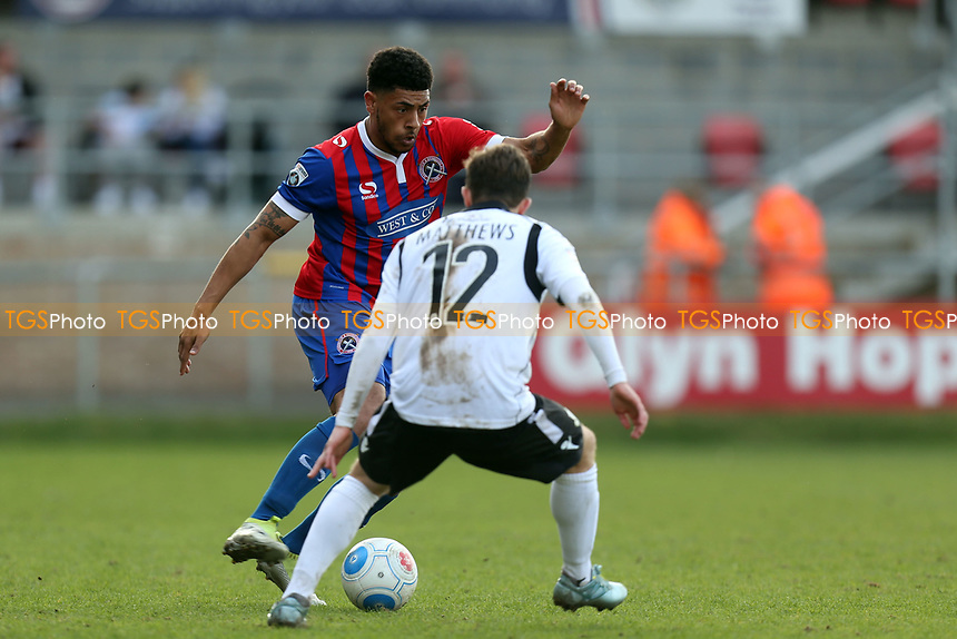 Curtley Williams of Dagenham and /Sam Matthews of Eastleigh during Dagenham & Redbridge vs Eastleigh, Vanarama National League Football at the Chigwell Construction Stadium on 1st April 2017