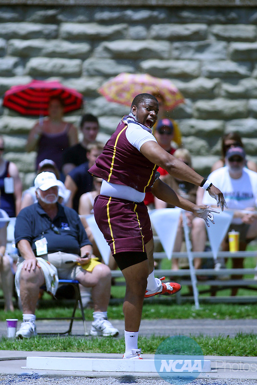 23 MAY 2009:  Brandon Fugett of Salisbury University throws the last shot and wins during the Division III Men's Track and Field Championship held at Don Drumm Stadium on the Marietta College campus in Marietta, OH. Mike Munden/NCAA Photos