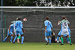 Ash Hawkins scores Great Wakering's second goal of the game in the pre-season friendly between Great Wakering Rovers v Horsham FC, 28th July 2012 at Burroughs Park