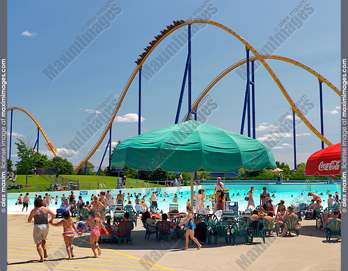 People at a water park at Canada's Wonderland amusement park. Vaughan Ontario Canada.