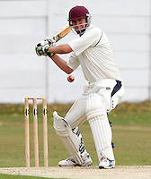 Brad Sculley bats for North Middx during the Middlesex County Cricket League Division Three game between North Middlesex and Harrow at Park Road, Crouch End on Sat Aug 7, 2010.